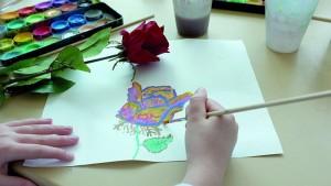 farbkasten und rose